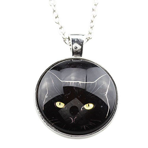 [FOY-MALL Fashion Silver-tone Glass Cat Pendant Necklace XL1293] (Lobster Claw Costume Pattern)