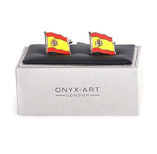 Onyx Art Cufflinks - Spain Flag - Spanish Flying Flag by Onyx Art