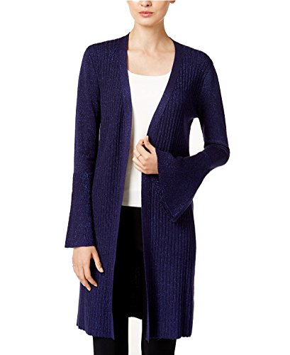 Sweater Nylon Metallic (Marled Metallic Bell-Sleeve Cardigan (XL, Navy))