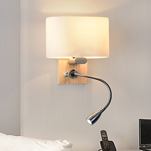 Great St. DGF LED Solid Wood Wall Lamp, Bedroom Bedside Lamp, Glass Lampshade with 1W Hose Reading Lamp, Stairway Aisle Decorative Lights by Great St.