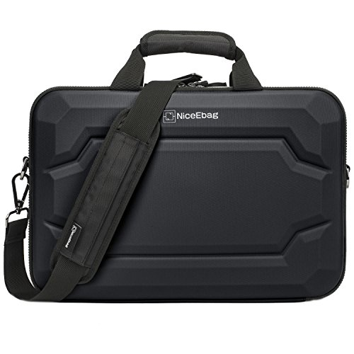 NiceEbag EVA Multi-functional Briefcase Multi-compartment Handbag 15.6 inch Laptop Case Messenger Bag Include shoulder strap For Macbook / Acer / HP / Dell Alienware / Lenovo / Men/Women (Black)