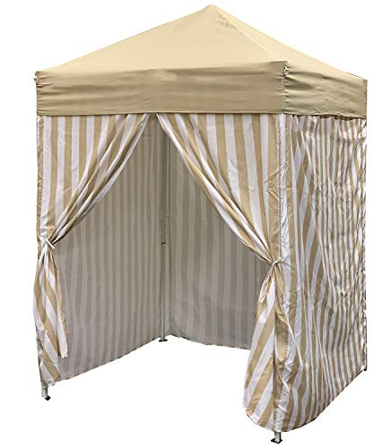 Just Relax Patio Pop-up Striped Cabana Tent, Perfect for Summer, Multi-Purpose Tent, Easy and Quick Set-Up and Height Adjustment, Spacious and Private, Changing Room, 5x5 Feet ()