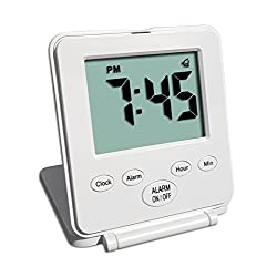 Digital Travel Alarm Clock - No Bells, No Whistles, Simple Basic Operation, Alarm, Snooze, Small and Light, ON/OFF Switch, White