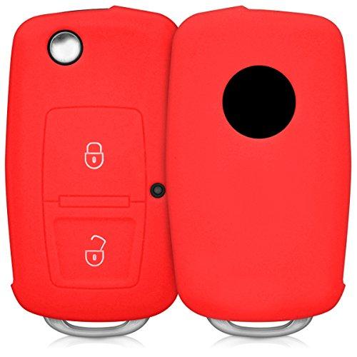 (kwmobile Car Key Cover for VW Skoda Seat - Silicone Protective Key Fob Cover for VW Skoda SEAT 2 Button Flip Key - Red)