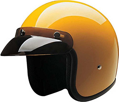HCI Gloss Yellow ABS Shell Open Face Motorcycle Helmet w/Visor 10-021 (Medium)