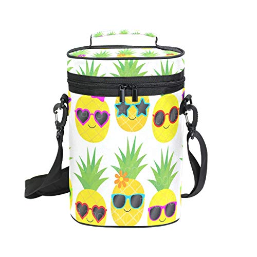 Premium Insulated 2 Bottle Wine Carrier Tote Bag Pineapple Sunglass Wine Travel Bag with Shoulder Strap and Padded Protection | Wine Cooler Bag
