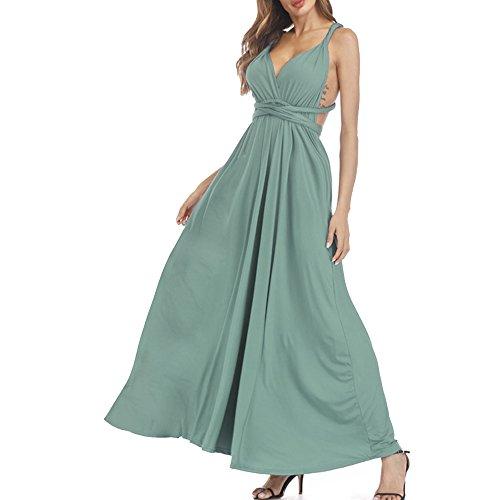 (YoungG-3D Sexy Women Maxi Club Dress Bandage Long Party Swing Dresses Convertible Robe Longue Famle Sage Green)