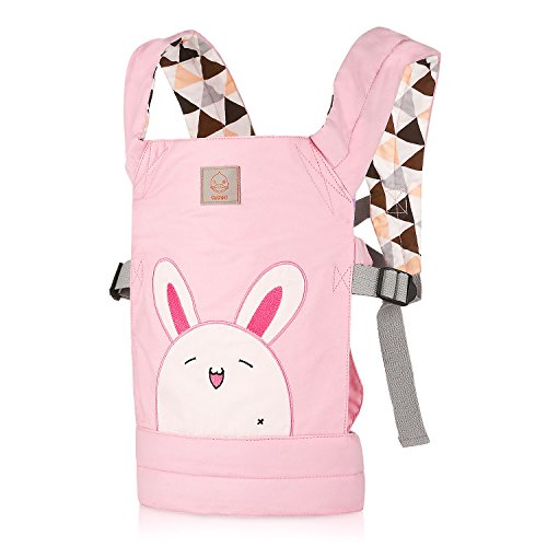 GAGAKU Dolls Carrier Front and Back Soft Cotton for Baby Over 18 Months Updated Version - Pink Rabbit