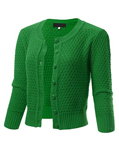 Womens Button Down 3/4 Sleeve Crewneck Cropped Knit Cardigan Crochet Sweater L Kelly Green