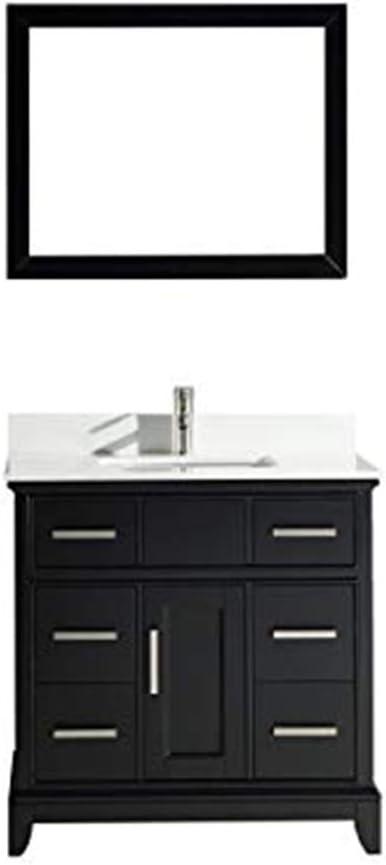 Vanity Art 36 Inches Single Sink Bathroom Vanity Set White Super Phoenix Stone Top 6 Drawers 1 Shelf Undermount Rectangle Sink Cabinet With Free Mirror Va1036 E Amazon Com