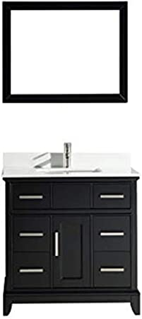 Vanity Art 36 Inches Single Sink Bathroom Vanity Set White Super Phoenix Stone Top 6 Drawers 1 Shelf Undermount Rectangle Sink Cabinet With Free Mirror Va1036 E Amazon Com