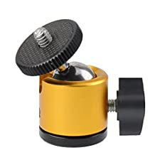 Mini Ball Tripod Head Mount for Digital Camera / Compact DSLR Camera / Light Stand / Light House / Cell Phone / Monopod / Gopro -Aluminum House and Steel Ball