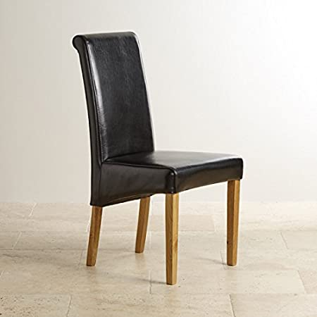 Oak Furniture Land High Scroll Back Black Leather Dining Chair With Solid Legs Room