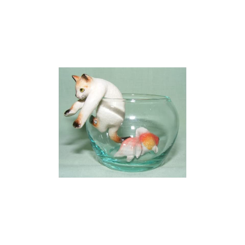 CAT SIAMESE climbs out of GoldFish Bowl w Goldfish New 3 Seperate Figurines MINIATURE Porcelain KLIMA L992C