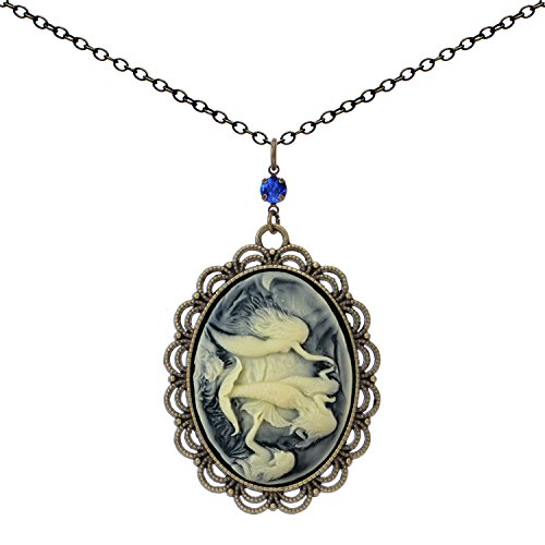 Yspace Cameo Best Friend Necklace Antique Brass Big Pendant Fashion Jewelry Deluxe Gift (Mermaid)