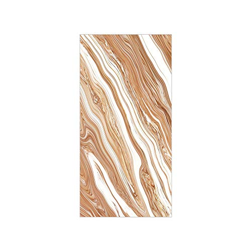 Decorative Privacy Window Film/Wavy Colored Fluid Earthen Toned Unusual Classic Stylized Retro Authentic Print Decorative/No-Glue Self Static Cling for Home Bedroom Bathroom Kitchen Office Decor -