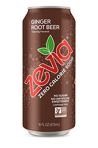 - Zevia Ginger Root Beer, 16 Ounce Can Zero Calories or Sugar, Naturally Sweetened, Carbonated Soda Refreshing, Flavorful, and Tasty ( Pack of 12 )