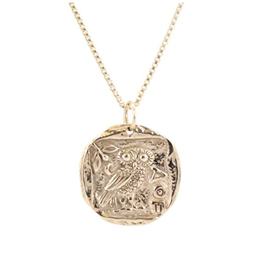 Zoe and Piper Pendants Ancient Greek Coin Necklace with Athenas Owl in  Bronze on an 18
