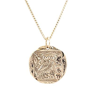 Zoe and piper pendants ancient greek coin necklace with athenas owl zoe and piper pendants ancient greek coin necklace with athenas owl in bronze on an 18quot mozeypictures Images