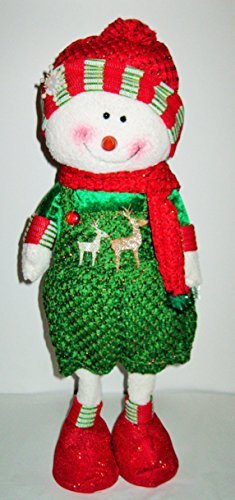 Large Standing Christmas Santa or Snowman with Knitted Pants and Over Size Boots (Green (Snowman)) ()