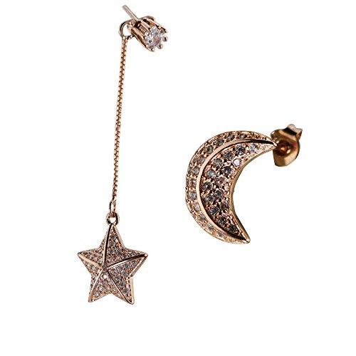 Diy Queen Of Hearts Costumes (Silver Gold Rose CZ Cubic Zirconia Drop Dangle Earrings for Women (Gold Rose))