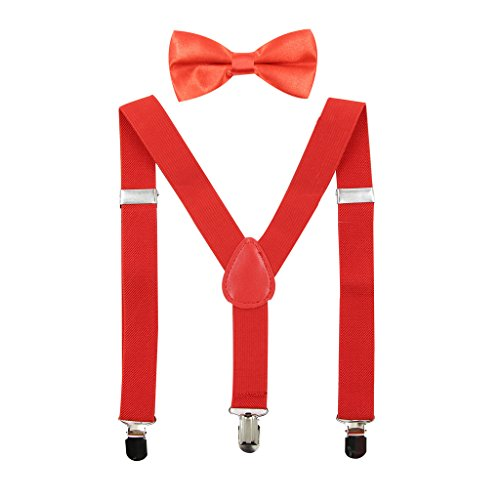 Hanerdun Kids Suspender Bowtie Sets Adjustable Suspender With Bow Ties Gift Idea For Boys And Girls,Red,One Size