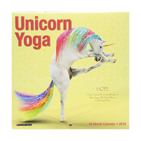Unicorn Yoga Mini 2019 Wall Calendar 3
