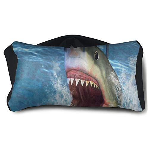 Great White Shark Jumping Water Travel Pillow and Eye Mask for Sleeping Rest Naps Neck Support Pillows Portable Convertible Eye Pillow Ergonomic Best for Airplanes Car Train Bus Home Office Camping