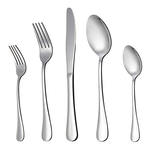 LIANYU 20 Piece Silverware Flatware Cutlery Set, Stainless Steel Utensils Service for 4, Include Knife Fork Spoon…