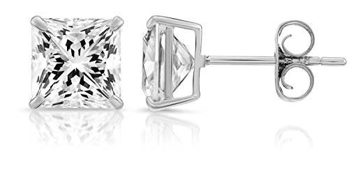 14k White Gold Square Cubic Zirconia Princess-cut CZ Stud Earrings, Unisex (6mm, white-gold)