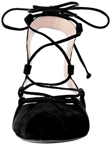 Boutique Stripes, Sandalias con Correa de Tobillo para Mujer Black (Black)