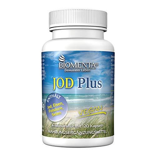 BIOMENTA Jod + Eisen + Folsäure + Selen - 4 Monatskur – vegan - 120 Jod Tabletten hochdosiert