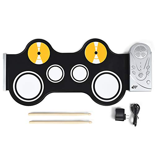 BABY JOY Roll-Up Drum Kit, Portable Electronic Drum Set w/ Built in Loud Speakers, Electronic Drum Pad with Drumsticks, Kids Electronic Drum Set, Silicone Drum Pad Roll-Up Drum Practice Kit