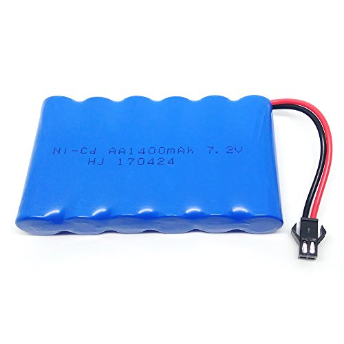 Gecoty 7.2V 1400mAh Ni-cd Rechargeable AA Battery Pack SM 2P Plug for Remote Control Toys, Lighting, Security Facilities, Electric Tools, etc