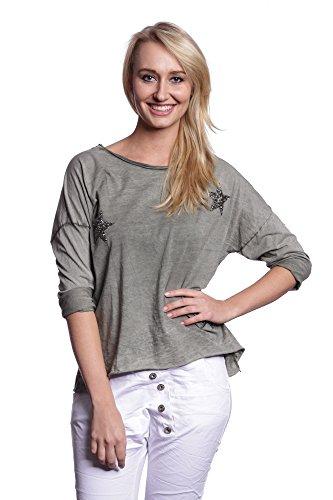 Abbino 6013 Camisas Blusas Tops para Mujer - Hecho en ITALIA - 6 Colores - Entretiempo Primavera Verano Otoño Mujeres Femeninas Elegantes Formales Manga Larga Casual Vintage Fiesta Rebajas Verde Caqui