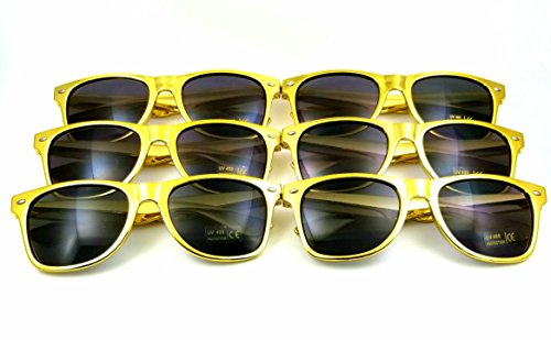 Gold Party Favor Sunglasses 6 Pack, New Year's Eve, Bachelorette, Bridesmaid, Wedding, Halloween, Cheap Retro Vintage 1980's Wayfarer Style by S&C DG