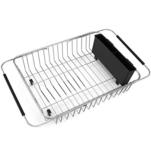 - iPEGTOP Expandable Dish Drying Rack, Over the Sink Dish Rack, In Sink Or On Counter Dish Drainer with Black Utensil Holder Cutlery Tray, Rustproof Stainless Steel for Kitchen