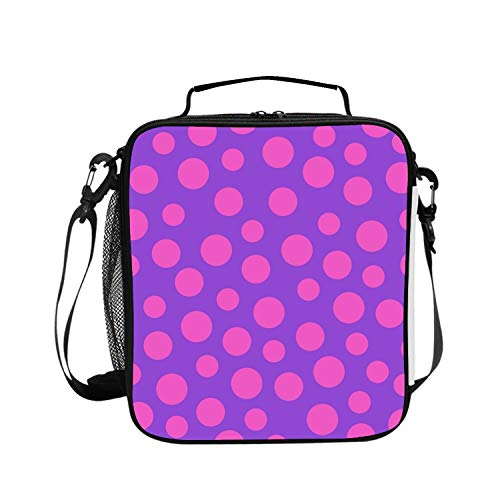 BDZC Purple Polka Dots Lunch Tote for Work and School with Top and Main Compartments, Adjustable Strap