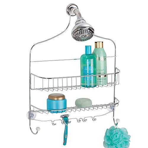 mDesign Extra Wide Metal Wire Bathroom Tub and Shower Caddy, Hanging Storage Organizer Center with Built-in Hooks and Baskets on 2 Levels, Rust Resistant - Chrome