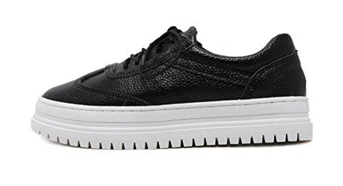 Sneaker Da Donna Fashion In Pelle Scamosciata Asso, Mocassini Allacciati In Pelle 2 Colori Taglia 5.5-7.5 Nero