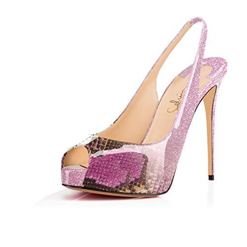 (Women'sPeepToeSlingback Sandals Hidden Platform Pumps 5