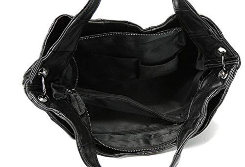 Black épaule Sac Une Main Mouton Capacité à Bandoulière Cuir Peau Dames De Couture Grande OIvgw