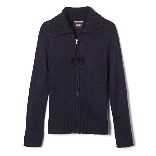 (French Toast Big Girls' Pom Pom Zip up Sweater, Navy, X-Large/14/16)