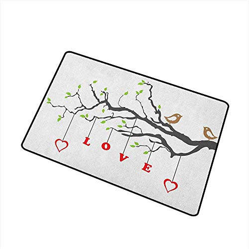 Love Modern Doormat Two Birds Sitting on a Branch Affection Adoration Illustration with Nature Inspiration Super Absorbs Mud 16