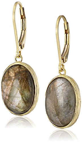 (Gold-Plated Sterling Silver and Labradorite Dangle Earrings )