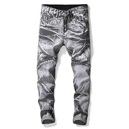 246b40a35 HCFKJ Fashion Men s Casual Stretchy Pleated Jeans Slim Fit Denim Pants Blue  Black