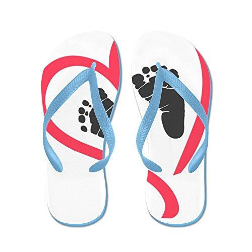 CafePress Baby Feet Heart - Flip Flops, Funny Thong Sandals, Beach Sandals Caribbean Blue