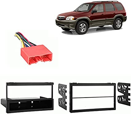 Car Radio Stereo Single DIN Dash Kit Wire Harness for Mazda Tribute 2001-2006