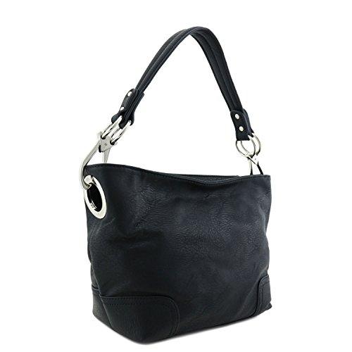 [Small Hobo Shoulder Bag with Snap Hook Hardware Black] (Hobo Purse)