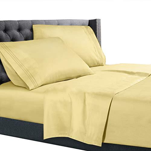 Nestl Bedding 5 Piece Sheet Set - 1800 Deep Pocket Bed Sheet Set - Hotel Luxury Double Brushed Microfiber Sheets - Deep Pocket Fitted Sheet, Flat Sheet, Pillow Cases, Split King - Light Yellow